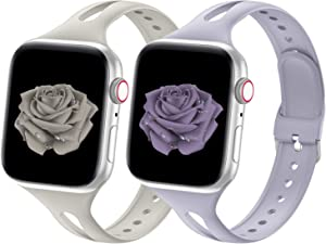 Bandiction Sport Band Compatible with Apple Watch Band 38mm 40mm 42mm 44mm Series 3 Series 5 Breathable Silicone Narrow Slim iWatch Bands Replacement Strap for iWatch SE Series 6 5 4 3 2 1, 2 Pack