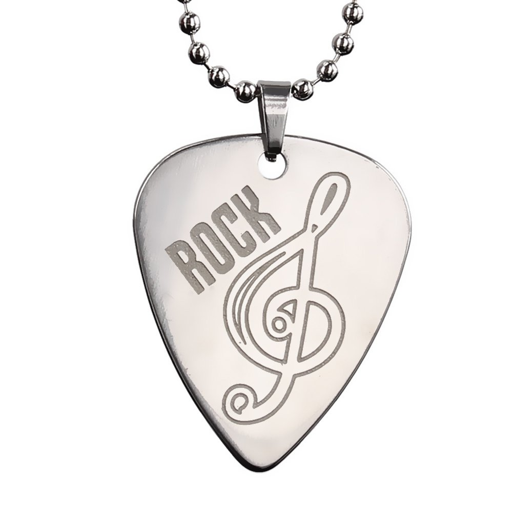 Music Note Pendant Necklace Chain Metal Pick for Electric Guitar Bass Gifts ReFaXi MI00213-1-ca