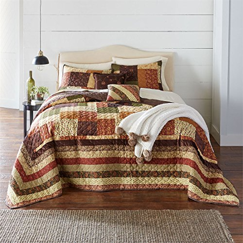 BrylaneHome Salem Harvest Bedspread (Brown Multi,Queen)