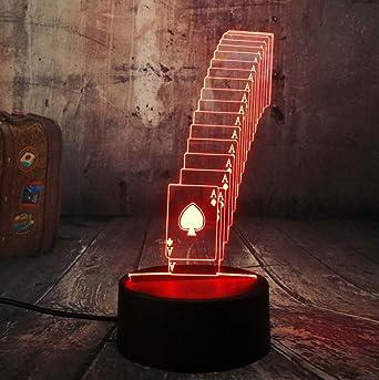 Poker Naipes Juego de dados Fiesta 3D Luz Nocturna LED Mesa de Escritorio Lámpara de Sueño Decoración para el Hogar Juguete de Cumpleaños Regalo de Navidad: Amazon.es: Iluminación