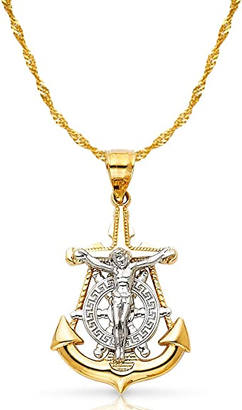 14K Tri Color Gold Jesus Crucifix Anchor Religious Charm Pendant For Necklace or Chain Ioka