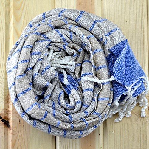 Turkish Linen Towel Pestemal Natural Color Thin Eco Large Quick Dry Luxury Bath Hamam Spa Sauna Beach Gym Yoga Pool Massage Guest Sarong Bathrobe Fouta 80% Linen 20% Cotton