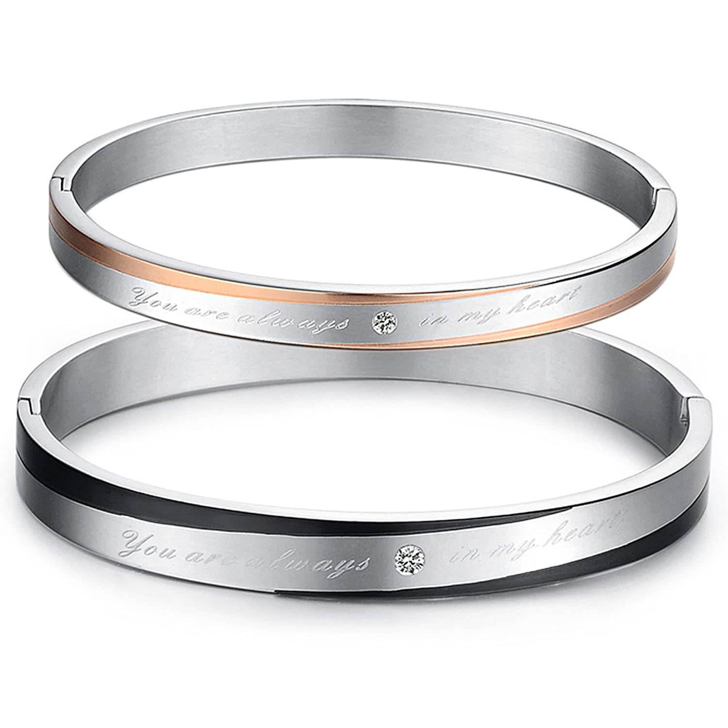 a bangle titanium matching style korean gift box com in steel amazon stainless simple love hers dp set or his anti couple bracelet fatigue