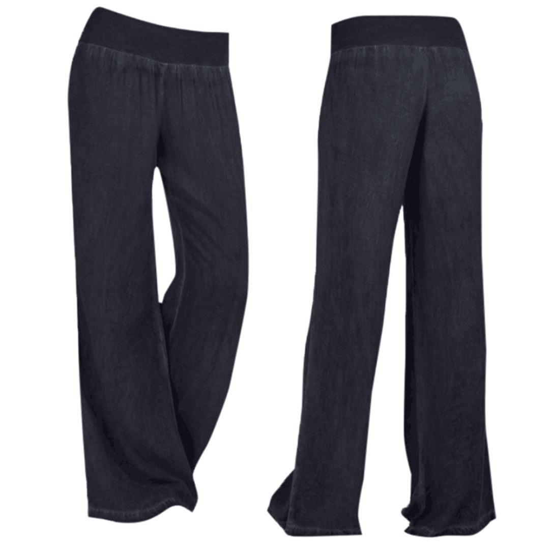 Jeans Trousers, Kimloog Womens High Waist Casual Denim Wide Leg Palazzo Pants (4XL, Black) by KMG