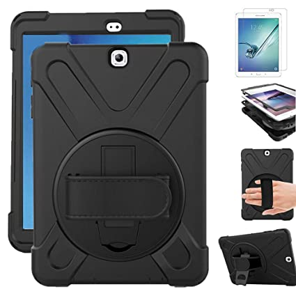 new concept ce4c0 e981e Gzerma for Samsung Galaxy Tab S2 9.7 Case with Screen Protector, Hand  Strap, Rotating Stand for Kids, Heavy Duty Defender Protective Kickstand  Cover ...