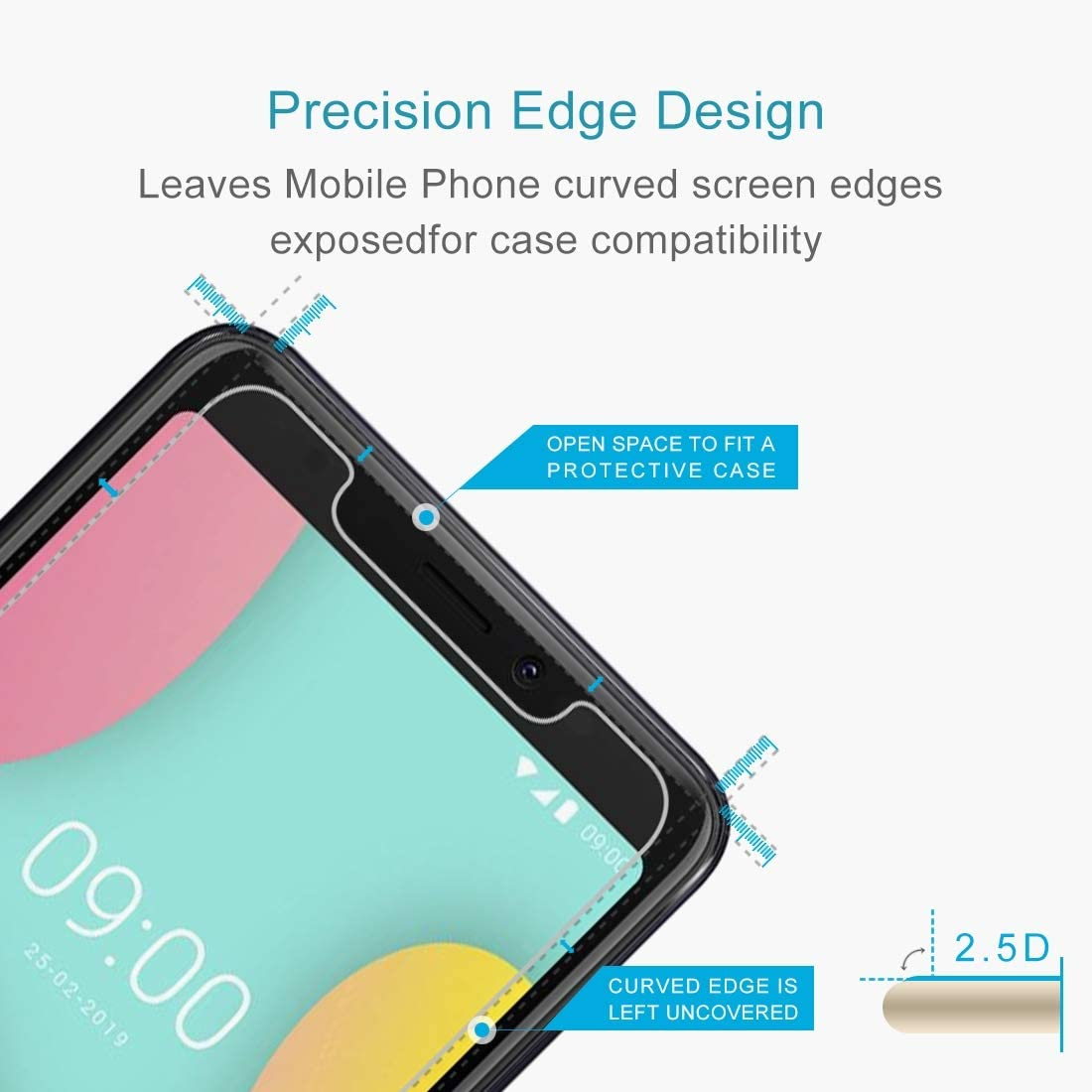 No Retail Package GzPuluz Glass Protector Film 50 PCS 0.26mm 9H 2.5D Tempered Glass Film for Wiko Y60