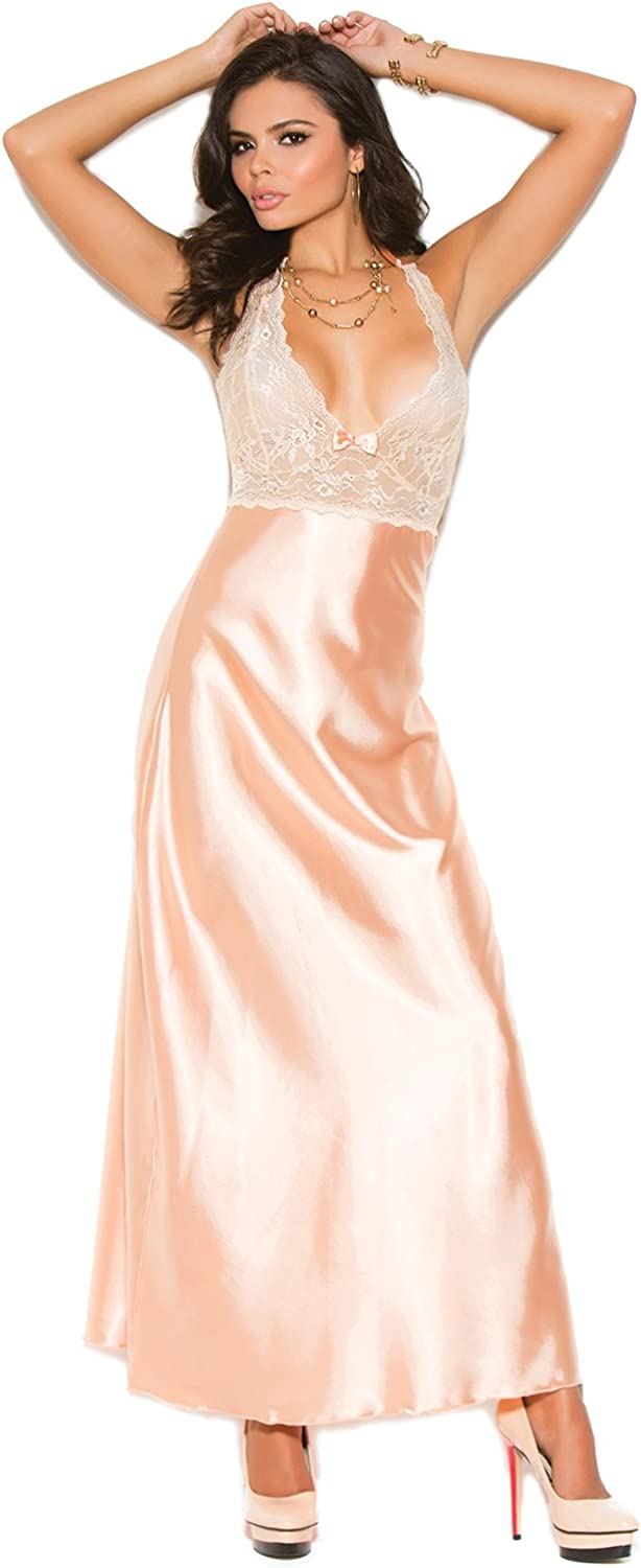 Hot Spot Women's Lace Charmeuse Halter Neck Gown: Clothing