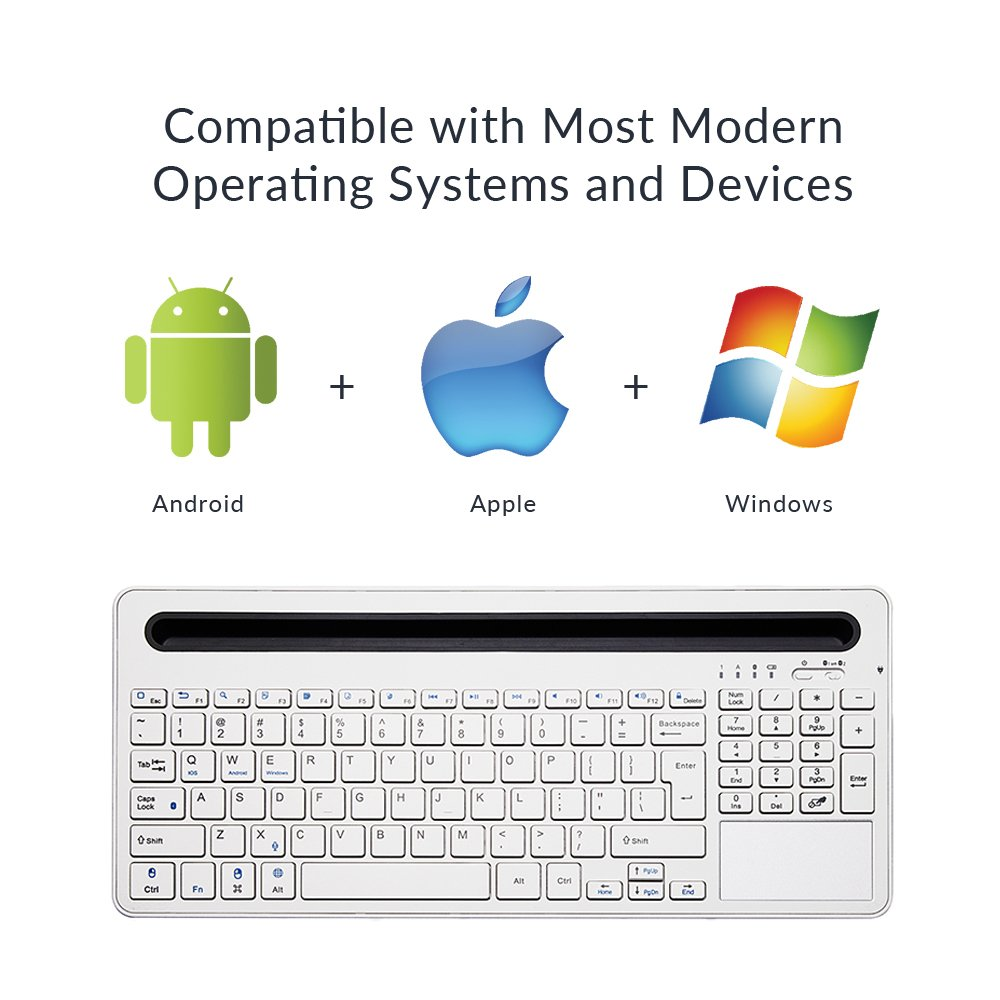 Homey Wireless Bluetooth Keyboard Multifunctional Slim Keyboard for iOS,  Android, Windows, PC, Tablets and Smartphone, White