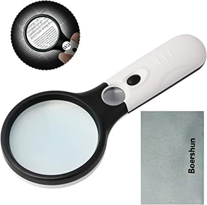 map Magnifying Glass with Light,GOTDYA 3X 45X Illuminated LED Magnifier,Handheld Lighted Magnifying Glasses for Reading Small Prints Coins and Jewelry
