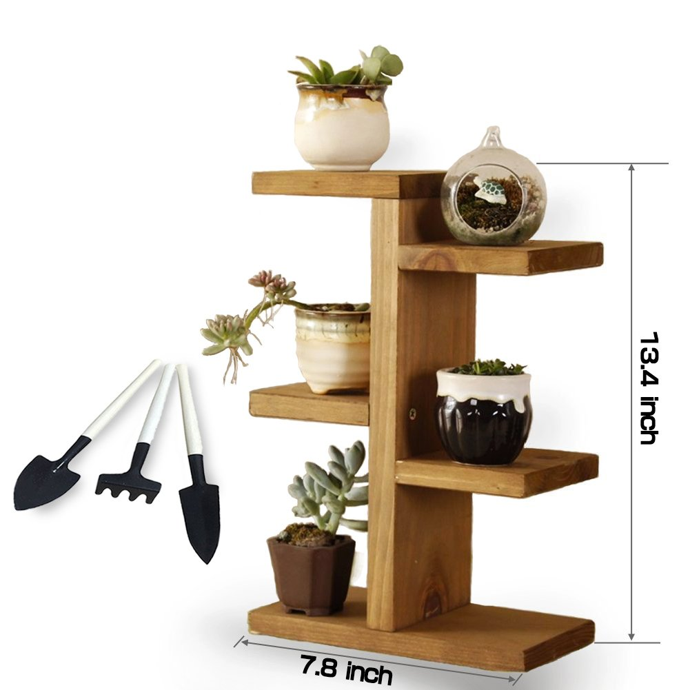 Small Plant Stand, Jeerbly Wood Plant Stand for Succulent Tabletop Window Flower Garden Rack 3 Tiers Indoor Desk Decor