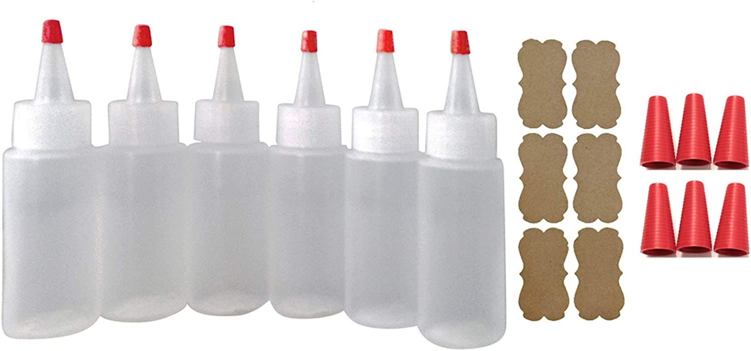 SanDaveVA Brand 6 Plastic Squeeze Bottles Cake Decorating Paint Crafts Condiments 60ml 2oz