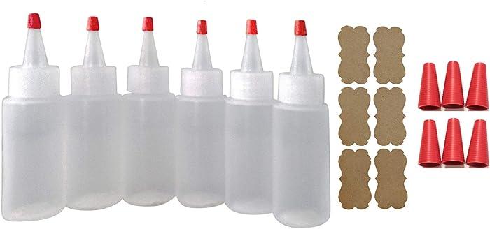 SanDaveVA Brand 6 Plastic Squeeze Bottles Cake Decorating Paint Crafts Condiments 60ml 2oz