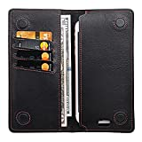 Leather Travel Wallet with Phone Pocket, Long Bifold Wallet Men Women   Gift Box (Black/Red)