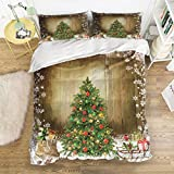 4 Piece Bedding Sets Christmas Tree Wood Grain Pattern Duvet Cover Set Reversible Comforter Set 1 Flat Sheet 1 Duvet Cover and 2 Pillow Cases by YEHO Art Gallery (Twin Size)