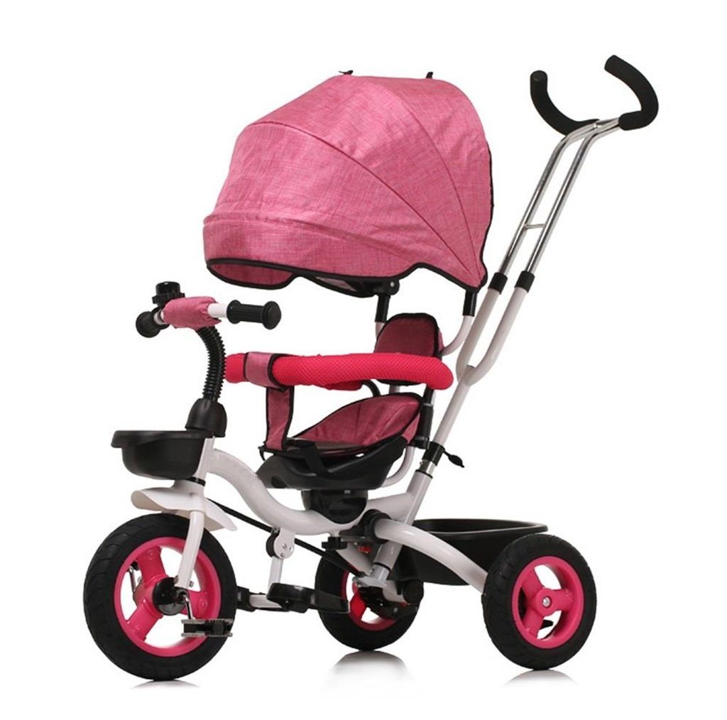 三輪車の赤ちゃんキャリッジバイク子供のおもちゃの車Foldableバイラテラルステアリング3チタン車輪保護自転車、(男の子/女の子、6ヶ月-5歳) (色 : ピンク ぴんく) B07DVH3G1Gピンク ぴんく