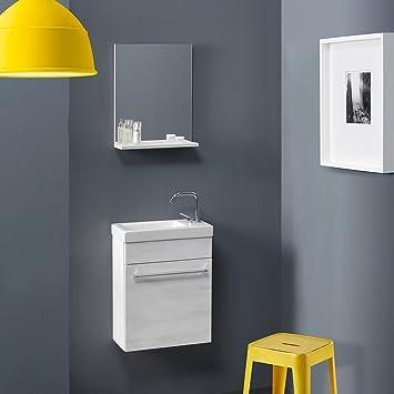 Amazon.de: KIAMAMI VALENTINA Mobile Badezimmer, Eiche Weiß, Kleine Räume