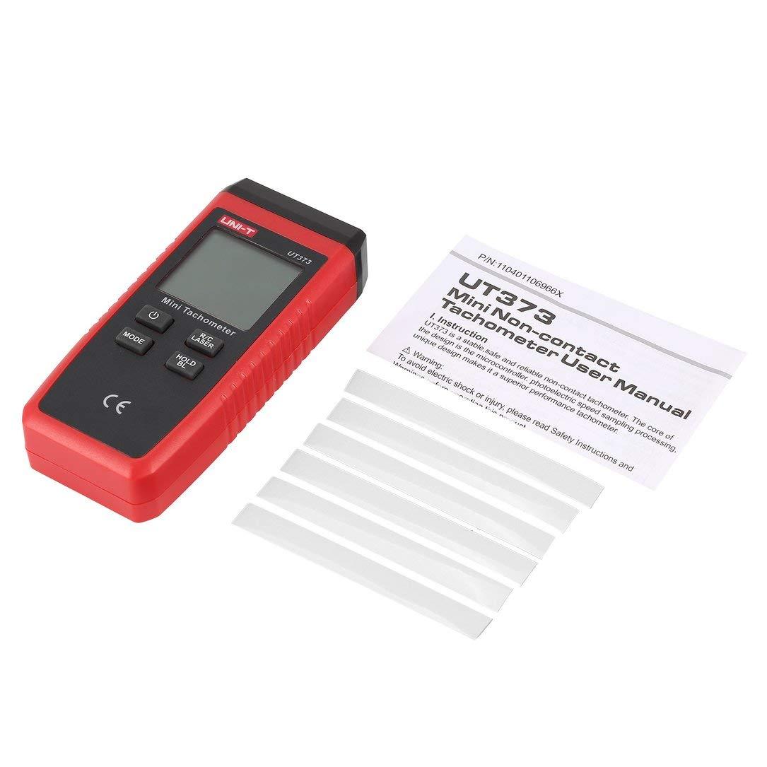 sdfghzsedfgsdfg UNI-T UT373 LCD Digital de Mini sin contacto con láser del tacómetro RPM de velocidad del velocímetro del metro de medición 0~99999 Counts Negro y Rojo
