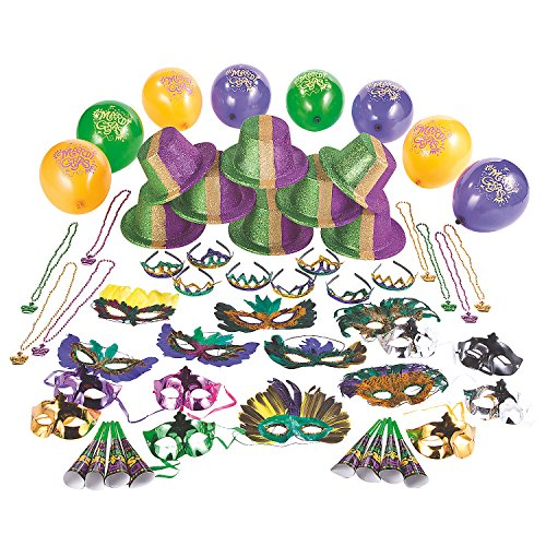 Fun Express - Mardi Gras Party Kit For 24 for Mardi Gras - Party Supplies - Party Packs Adult & Family - Party Packs - Mardi Gras - 144 Pieces