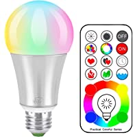 iLC LED Colour Changing Light Bulb with Remote Control RGBW - 120 Different Color Choices – RGB Daylight and White Dimmable – Timing Function - E27 Edison Screw Cap Type for Decoration Parties & More