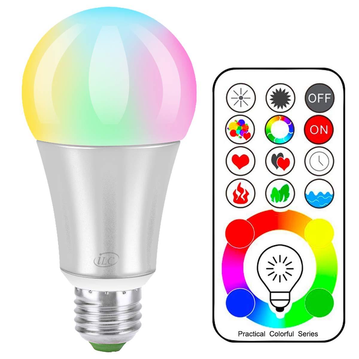 iLC Bombillas Colores RGBW LED Bombilla Cambio de Color Edison - RGB 120 de colores Regulable - 10 vatios E27- Control remoto Incluido para Casa Decoració n Bar Fiesta Ambiente Ambiance Iluminació n