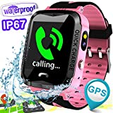IP67 Waterproof Kids Smartwatch Phone Best School Gift Girls boys GPS Tracker Locator Pedometer Fitness Tracker Camera Games Light Anti Lost Alarm Sport Watch for iOS Android Run Swim Outdoor Birthday