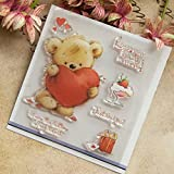 #6: Seaskyer Clear Stamps for Cards Making,Bear Clear Stamps,Cute Bear Heart Clear Stamps for DIY Scrapbooking Decor Card Making Crafts Supplies