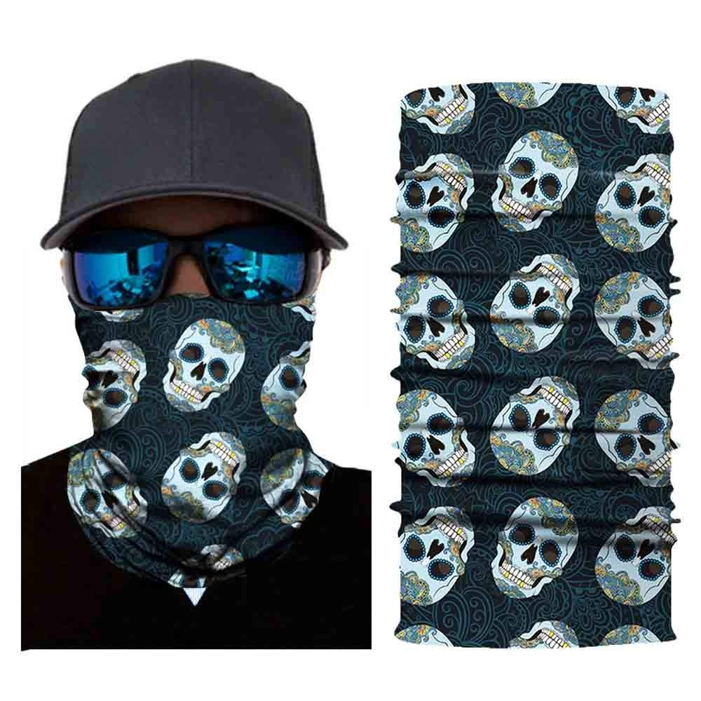 Tubular Owl Skull Face Mask Harley Motorcycle Biker Seamless Neck Tube Outdoor Ghost Face Mask Bandana Festivals (B)