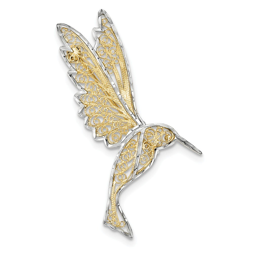 14K Yellow Gold and Rhodium Plated D/C Filigree Hummingbird Pin by Jewelry Pot