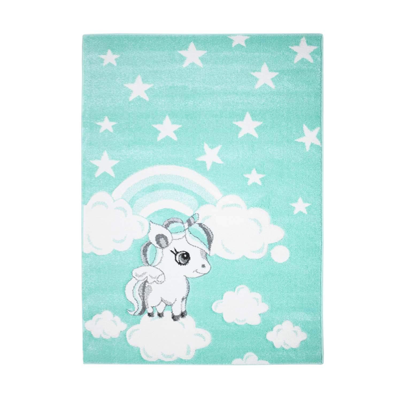 MyShop24h Kinderteppich Teppich Hochwertig Bueno Sterne Wolken Regenbogen Regenbogen Regenbogen Einhorn Kinderzimmer Mint, Größe in cm 160 x 230 cm B07KZLPVXF Teppiche & Lufer a9ac3e