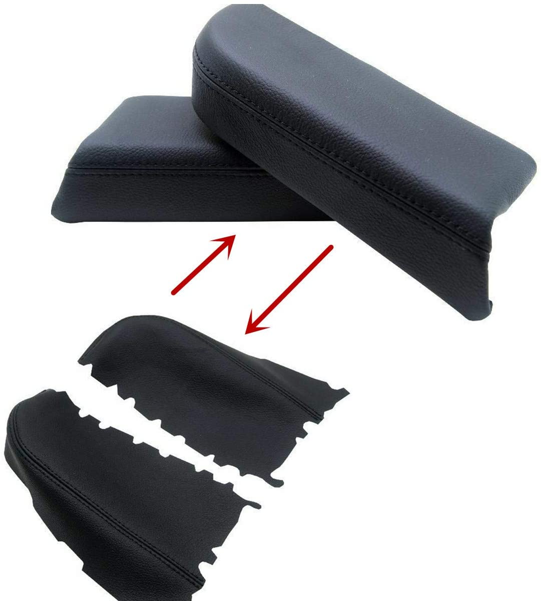 Dunhil Front Door Panel Armrest Cover Replace for 2009 2010 2011 2012 2013 Honda Pilot Leather Armrest with Door Clip Panel Trim Removal Tool Black