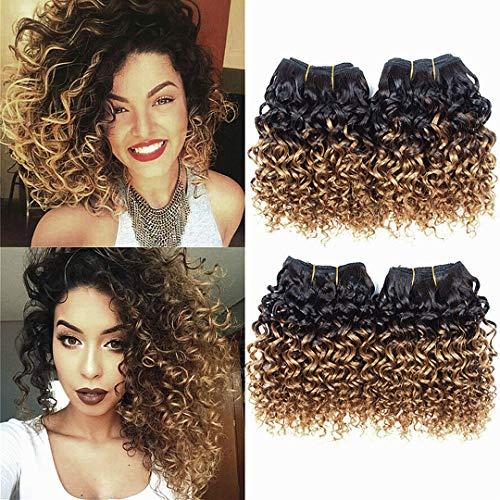 Curly Hair 4 Bundles Short Human Hair Kinky Curly Weave Ombre Brazilian Virgin huamn Hair (50 Gram/Bundle 8 Inches ) (8