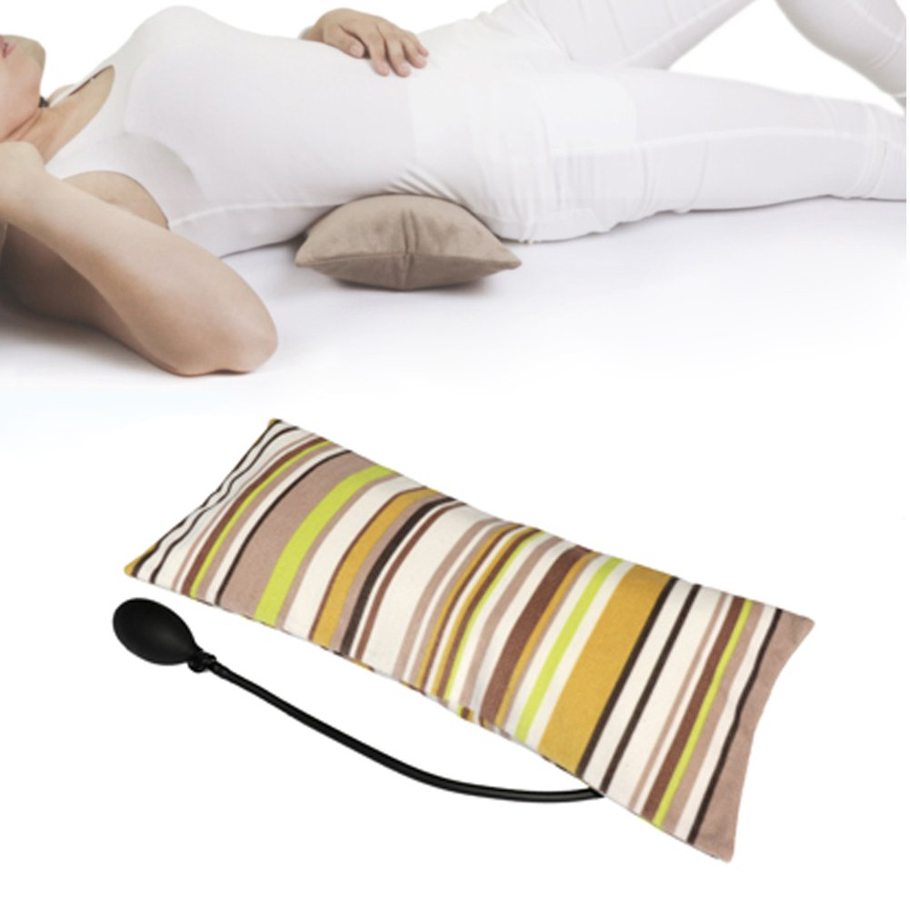 Tcare Multifunctional Portable Air Inflatable Pillow for Lower Back Pain,Orthopedic Lumbar Support Cushion,Travel,Waist,Knee,Hip,Sciatica and Joint Pain Relief,Orthopedic Side Sleeper (Stripe)