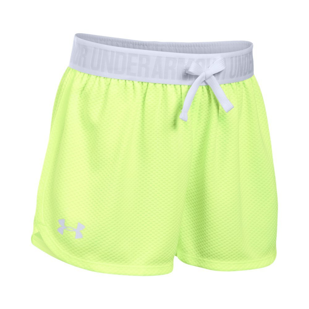 Under Armour Girls' Mesh Play Up Shorts, Pale Moonlight /White, Youth Small by Under Armour
