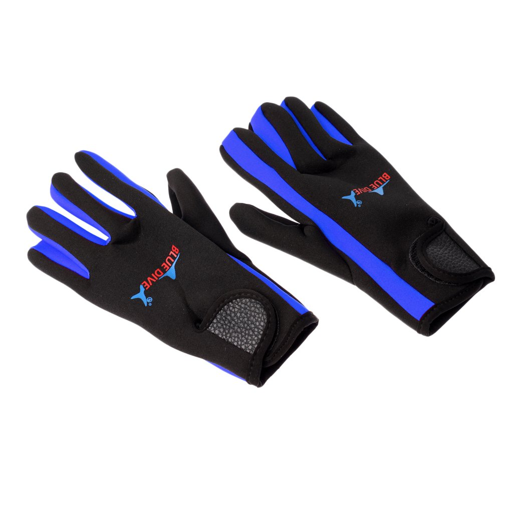 MMネオプレン伸縮性快適Keep ブルーとブラック B0769D6MKN Warm滑り止め手袋メンズレディーススキューバダイビングサーフィン冬の水泳 Small MagiDeal 1ペア1.5