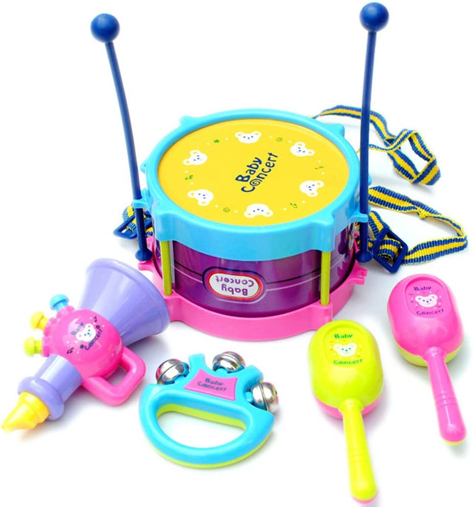 Reasoncool Baby Kid Colorful Musical Drum Bell Toy Music Developmental Instrument Puzzle Toy Child Gift