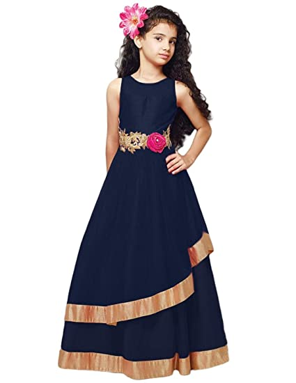 8366725addaf Cartyshop Girl s Navy Blue Net Embroidery Anarkali Flared Readymade ...