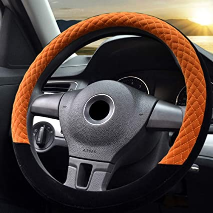 Black /& Red FLKAYJM Universal Fit Plush Soft Car Steering Wheel Cover 37-38CM//15 Anti Slip Breathable Protector Warm Winter Autumn Auto Accessory for Truck SUV Van