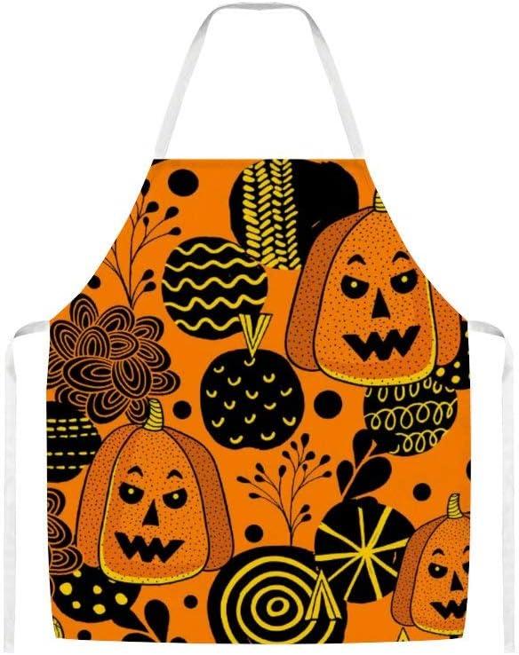 Doinh Morocco, delantal de tela con diseño de calabaza de Halloween, para hombres y mujeres en la cocina, barbacoa y hornear