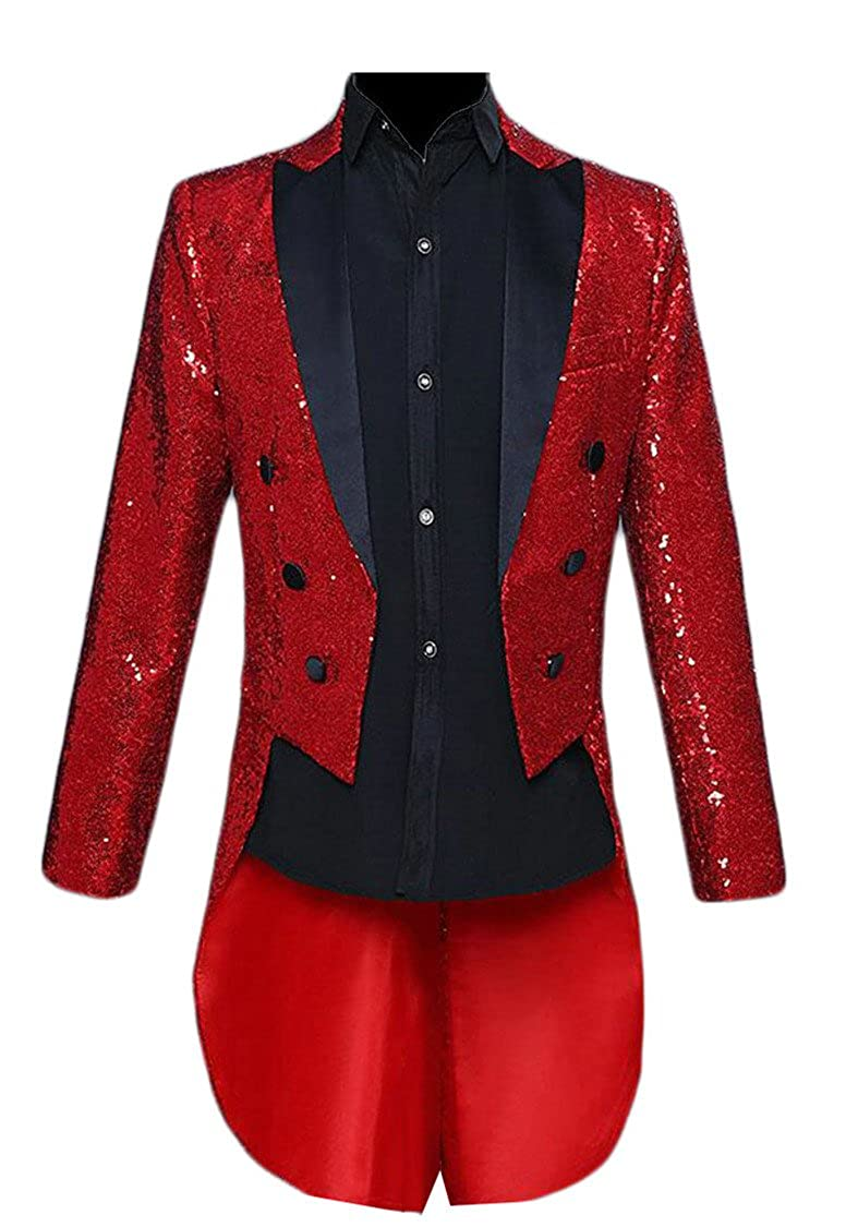M/&S/&W Mens Stage Clothes Sequin Swallowtail Dinner Party Wedding Blazer Suit Jacket