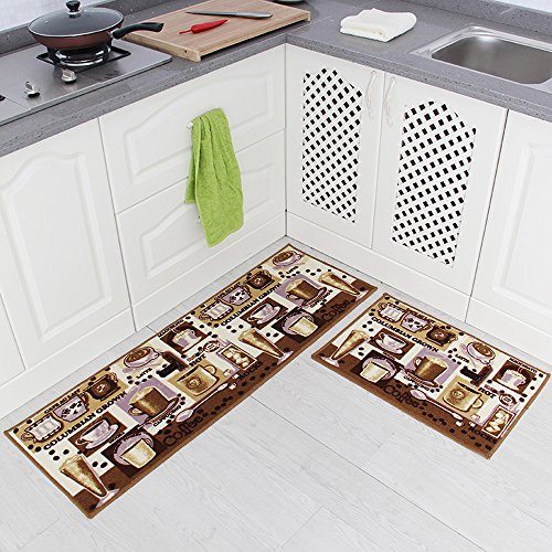 Carvapet 2 Piece Non-Slip Kitchen Mat Rubber Backing Doormat Runner Rug Set, Coffee Design (Brown 15