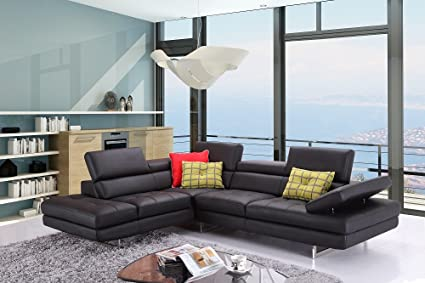 A761 Modern Italian Leather Sectional Sofa In Black