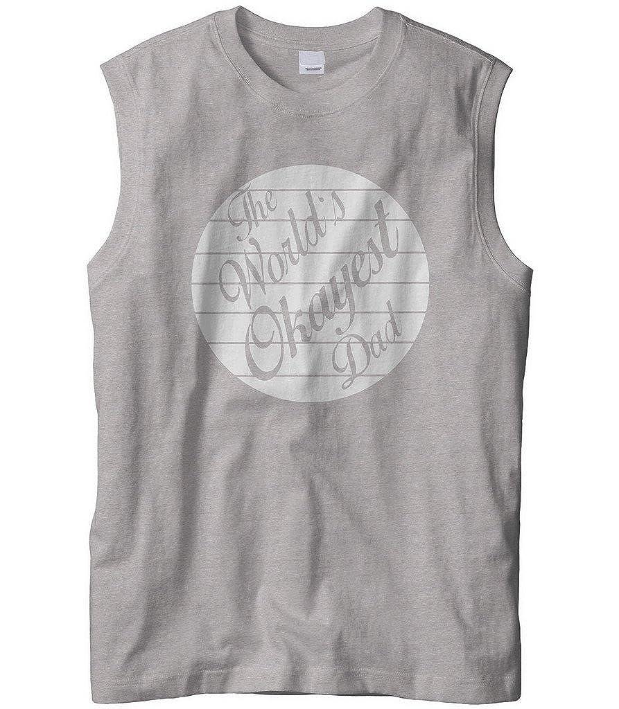 Cybertela Mens The Worlds Okayest Dad Sleeveless T-Shirt