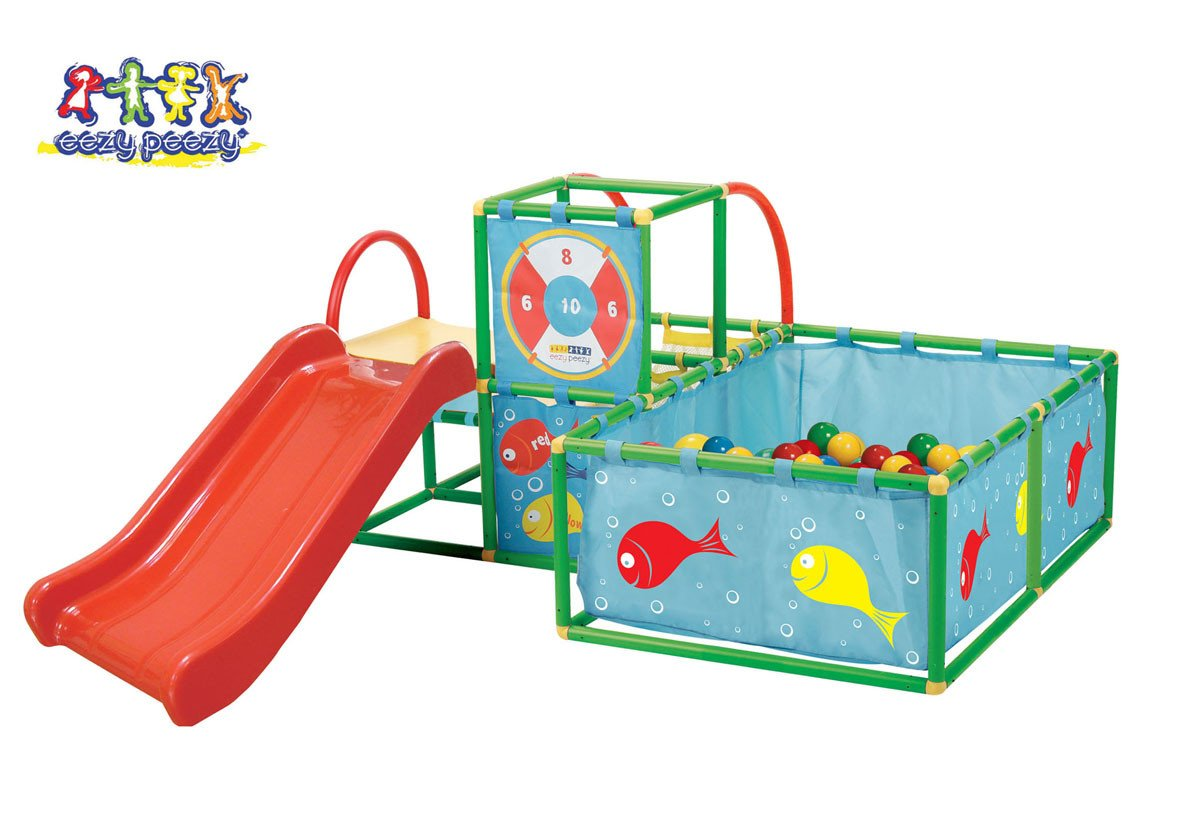 Toy Monster Active Play Gym Set - Red/green Multiple - Children Outdoor Playground Gym Sets - Portable Game - Durable Interlocking Plastic Tubing and Connectors - 50 Balls Included