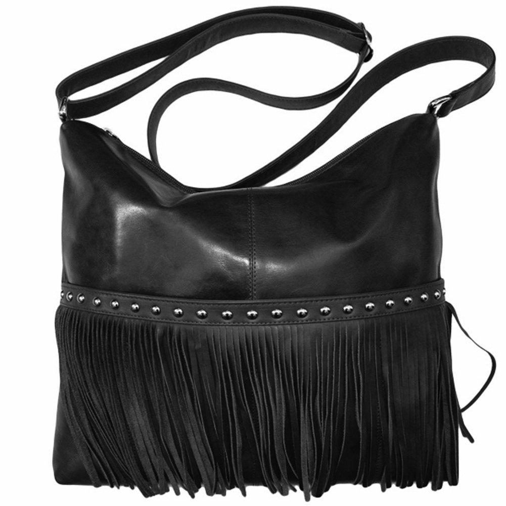 Leather Fringe Hobo Handbag,One Size,Black by ILI