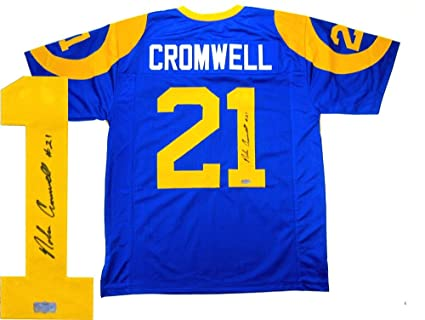 best sneakers bfd8a f0b72 Amazon.com: Nolan Cromwell Autographed Jersey - Custom Blue ...