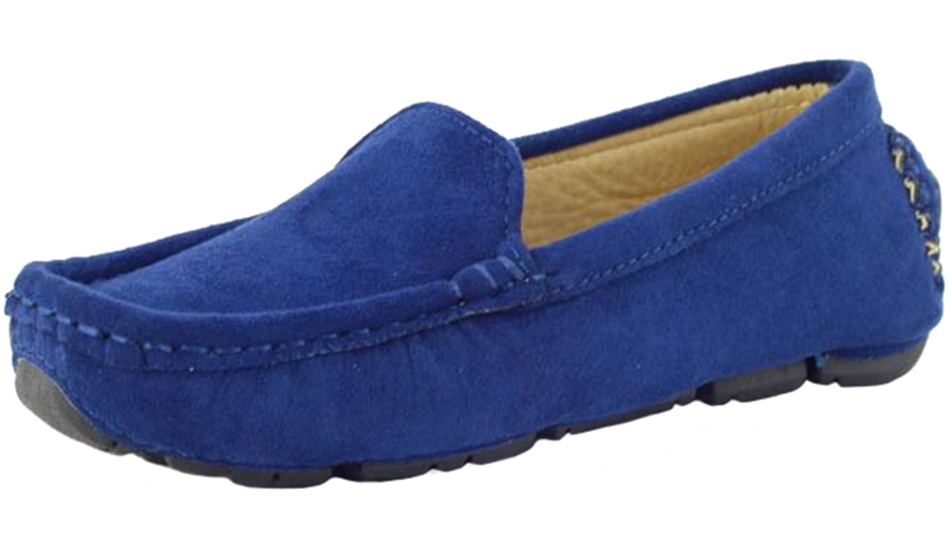 PPXID Girl's Boy's Suede Slip-on Loafers Casual Shoes(Toddler/Little Kid/Big Kid)-Blue 8 US Size