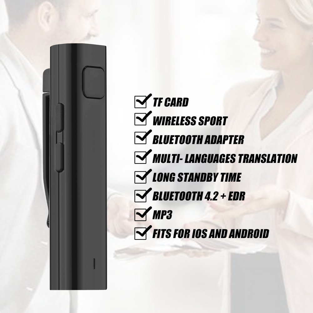 Stereo Headset Multi-Language Translation Bluetooth Receiver for Business Learning Travel 26 Languages Smart Translation Earphone Receiver Black fosa Bluetooth Translation Receiver