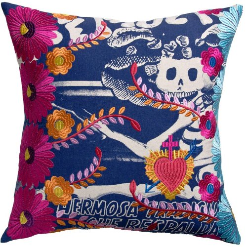 Koko Mexico Carina Print and Embroidery Cotton Pillow, 20 by 20-Inch, Multi-Color ()