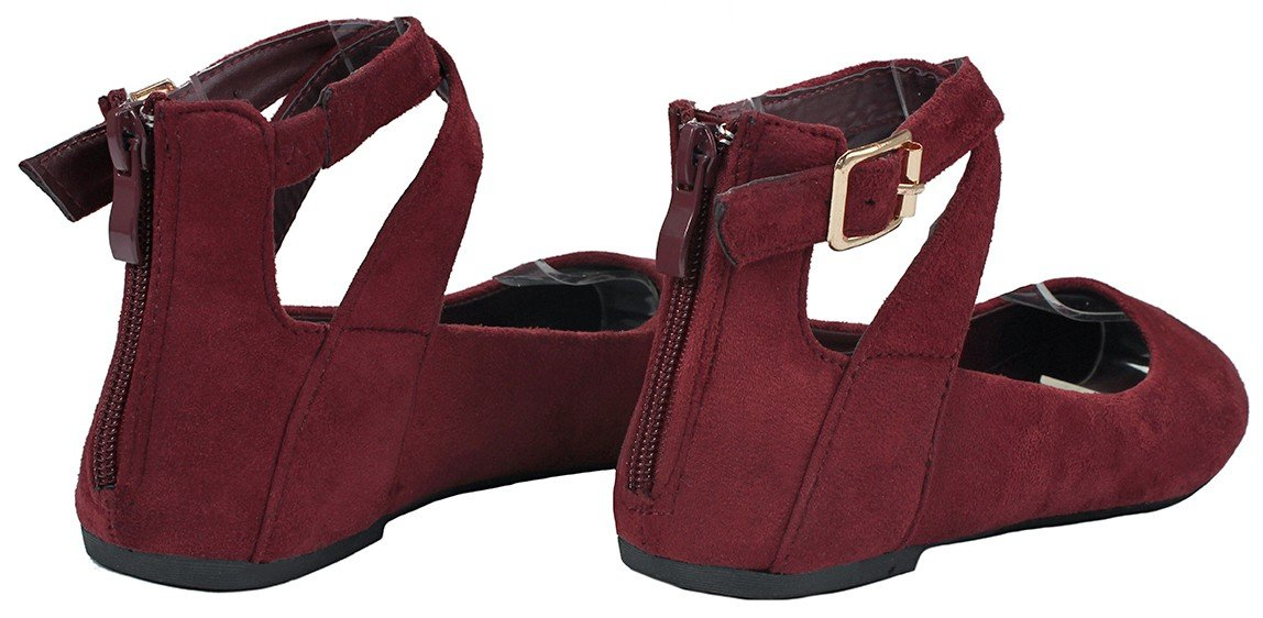 JJF Shoes Women Criss Cross Elastic Strap Round Toe Back Zip Comfort Loafer Ballet Dress Flats B01N3PL7O1 7.5 B(M) US|Wine_brea