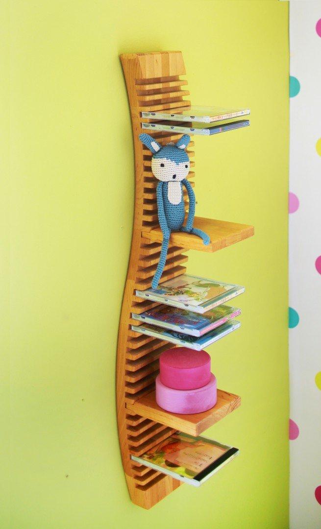 BioKinder 23170 Spar-Set: CD-Regal hängend 120 cm mit 4 Einsteckböden Erle